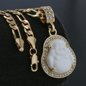 "Buddha14k Gold Charm Pendant 5mm 18"" Necklace"